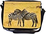 Rikki Knight 3 Zebras - Premium 1600D Messenger Bag - School Bag Ideal for School or College (UKBK Design)