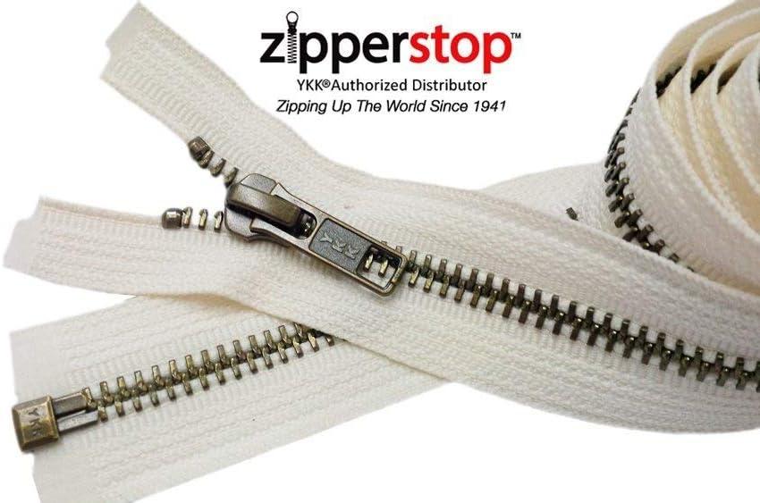 18 or 20 Inch Metal Zipper YKK #5 Golden Brass Medium Weight Separating made USA