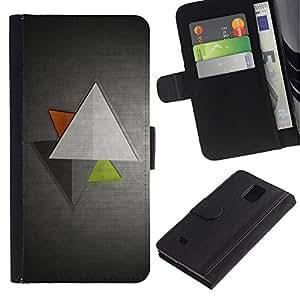 UberTech / Samsung Galaxy Note 4 SM-N910 / Triangle Grey Metallic Gray Brushed Aluminum / Cuero PU Delgado caso Billetera cubierta Shell Armor Funda Case Cover Wallet Credit Card
