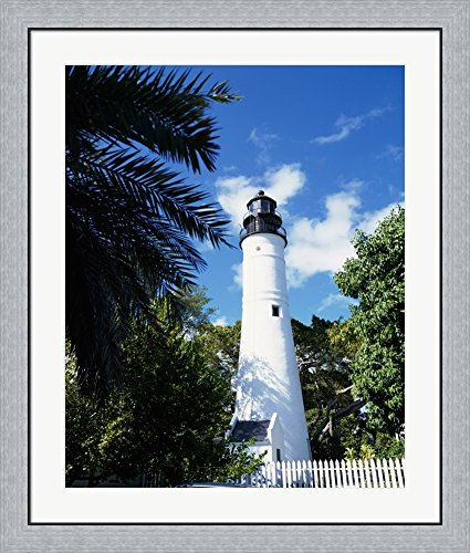(Key West Lighthouse and Museum Key West Florida, USA Framed Art Print Wall Picture, Flat Silver Frame, 31 x 36)