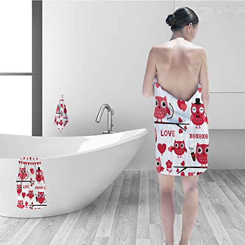 Nalahomeqq Bath towel set Animal Decor Owls Illustration Romantic Elements Arrow Eyesight Partners in Amour Artful Design Bathroom Accessories Red White (Arrow Element)