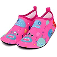 Bwiv Kids Beach Shoes Swim Non-Slip Soles Rubber Water Shoes Toddlers Quick Drying Soft Aqua Shoes Barefoot Breathable Aqua Socks for Boys Girls Pool Seaside Surfing