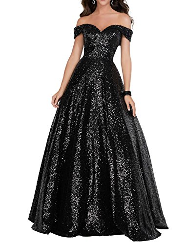 2018 Off Shoulder Sequined Prom Party Dresses for Women A Line Empire Waist Robes Plus Size Formal Evening Skirts Long Elegant Gowns SHPD41 Black Size 18W
