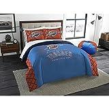 UNK 3pc NBA Oklahoma City Thunder Comforter Full Queen Set, Basketball Themed, Team Logo, National Basketball League, Team Spirit, Sports Patterned Bedding, Fan Merchandise, Orange Blue