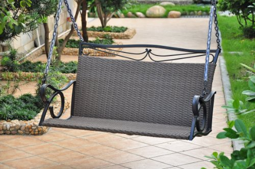 Valencia Resin Wicker with steel Frame Double Patio Swing Loveseat (Antique Black)