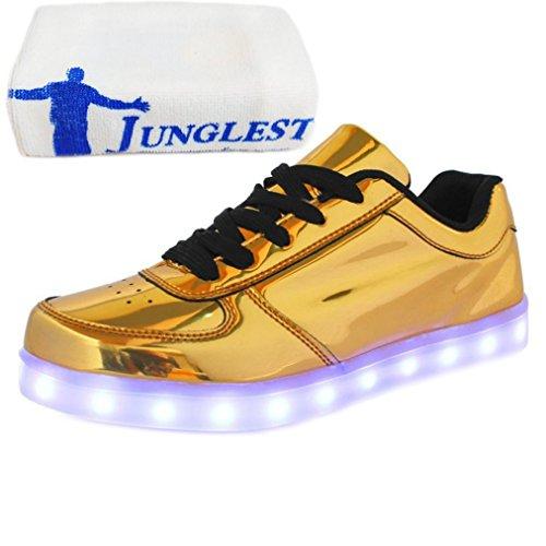 [Presente:pequeña toalla]JUNGLEST® Unisex 7 Colors USB Carga LED Luz Luminosas Flashing Sneakers Altotop Zapatos Zapatillas de Depo c15