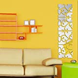 Towallmark 32pcs DIY 3D Removable Acrylic Mirror Decal Mural Wall Sticker Picture
