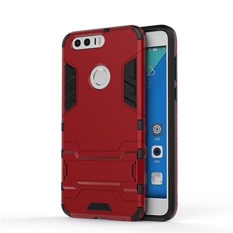 Apanphy Huawei Honor 8 Carcasa, Híbrida de Silicona + Polycarbonato Doble Resistencia, y soporte cover funda para Huawei Honor 8 - Rojo