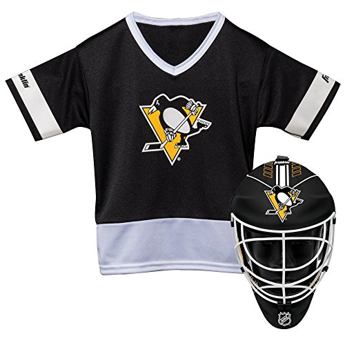 Franklin Sports Pittsburgh Penguins Kid's Hockey Costume Set – Youth Jersey & Goalie Mask – Halloween Fan Outfit – NHL Official Licensed Product