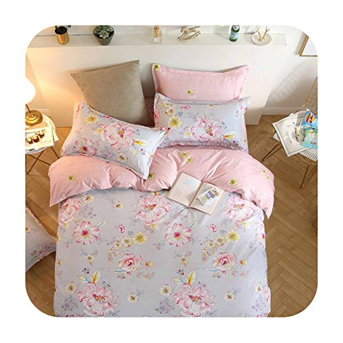 Cartoon Moon Star 3D Girl Bed linens Single Queen King Size Beautiful Scenic Flower Duvet Cover 3/4pc Sweet Pink Bedding Set Grey,5,Double Size 4pc ()