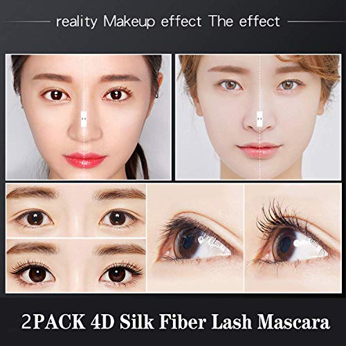 2Pack 4D Silk Fiber Eyelash Mascara,Extra Long Lash Mascara and Thick, Long Lasting, Waterproof & Smudge-Proof Eyelashes