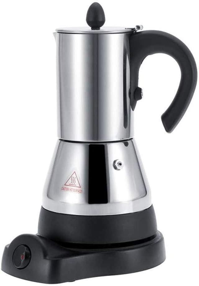 FenRui Cafetera de Acero Inoxidable/Moka eléctrica portátil, Filtro y asa Resistente al Calor, para Uso en el hogar/Oficina o Uso de Viaje (480W, 300 ml, Plata): Amazon.es: Hogar