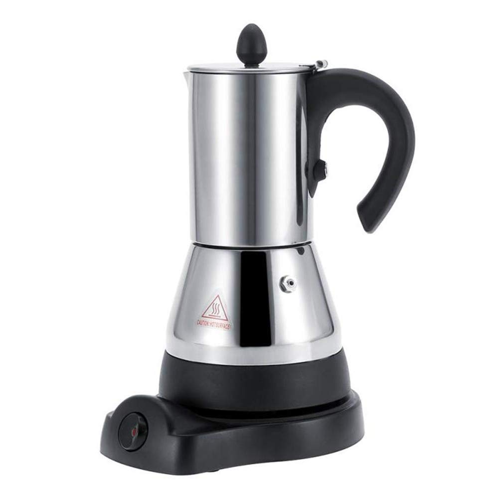 FenRui Stainless Steel Coffee Pot/Portable Electric Moka Pot, with Filter and Heat Resistant Handle, for Home/Office or Traveling Use (480W, 300ml, Silver)