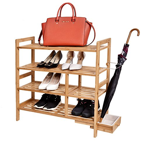 "WELLAND 4-Tier Bamboo Shoe Rack with Hidden Umbrella Stand, 29 1/2"" x 10 1/5 "" x 29 1/2"""