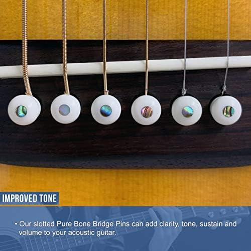 size 1 Set 6 acoustic guitar white bone bridge pins unslot with black mop dot