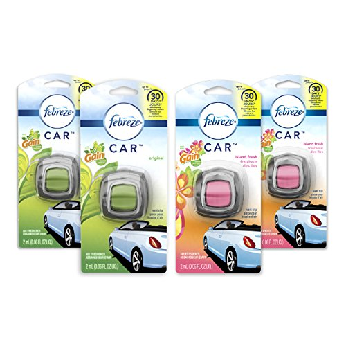 (Febreze Car Air Freshener, 2 Gain Original and 2 Gain Island Fresh scents (4 Count.06 fl oz))