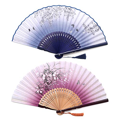 Sunnyac Hand Folding Fan, Japanese Bamboo, Fabric Handheld Fans in Delicate Box, Chinese Vintage Retro Style Handcrafted Fans and Patterns, Great Gift for Women, Girls (Type2)]()