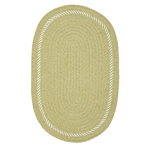 3' X 5' Oval Casual Farmhouse Style Handcrafted Kids Area Rug Stain Resistant Reversible Cute Simple Soft Pastel Solid Colors Sprout Green Rug Kids ()