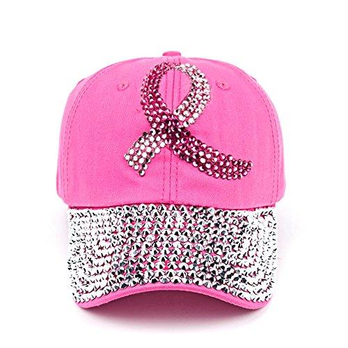 Breast Cancer Awareness Pink Ribbon Hat - Rhinestone Adjustable (Cancer Adjustable Hat)