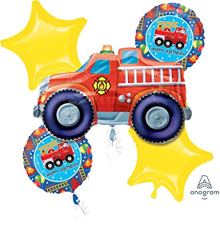 FIRETRUCK Fire Truck Red Rescue Hero Birthday Party (5) Mylar Balloons Kit SET -