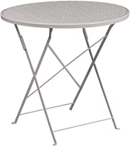 """Flash Furniture Commercial Grade 30"""" Round Light Gray Indoor-Outdoor Steel Folding Patio Table"""