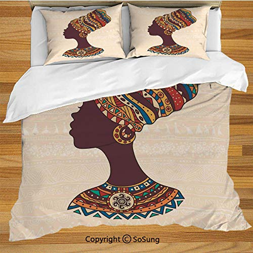 SoSung Tribal Decor King Size Bedding Duvet Cover Set,African Woman in Traditional Ethnic Fashion Dress Portrait Glamour Graphic Decorative 3 Piece Bedding Set with 2 Pillow Shams,Cream (Best Glamour Girl Gifts Collection Friend Gifts Anchors)