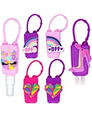MimeHime PINK Hand Sanitizer Holder Keychain 6pack w/Squeeze AND Spray: 1oz Small Travel Size, Leak Proof Empty Bottles w/Hook Hanging for Backpack, Belt, Pocket, Pocketbac, Purse, Car