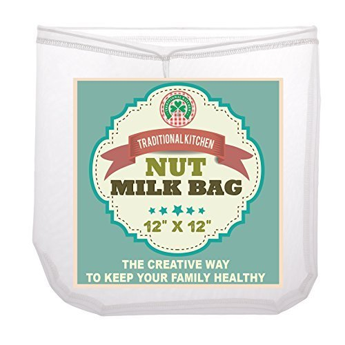 Traditional Kitchen Nut Milk Bag - Strainer & Cheesecloth Food Grade - Almond Milk, Yogurt and Juice Maker - Cold Brew Coffee Filter - Reusable bags - Fine Mesh Nylon - Perfect quality & size 12