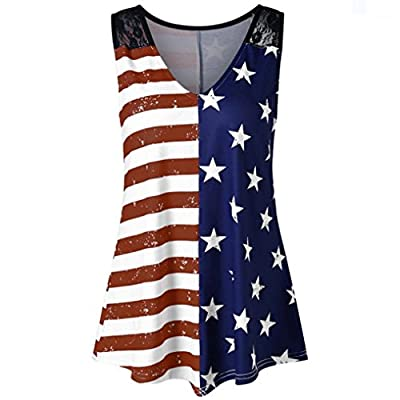 TOTOD Fashion Women American Flag Print Lace Insert V-Neck Tank Tops Lace Shirt Blouse