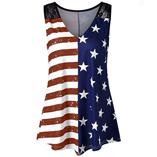 TOTOD Fashion Women American Flag Print Lace Insert V-Neck Tank Tops Lace Shirt Blouse (XXL, Multicolor)