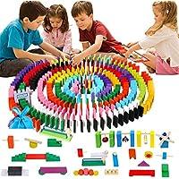 960 Pcs Wooden Dominoes Set for Kids Building Blocks Racing Tile Games