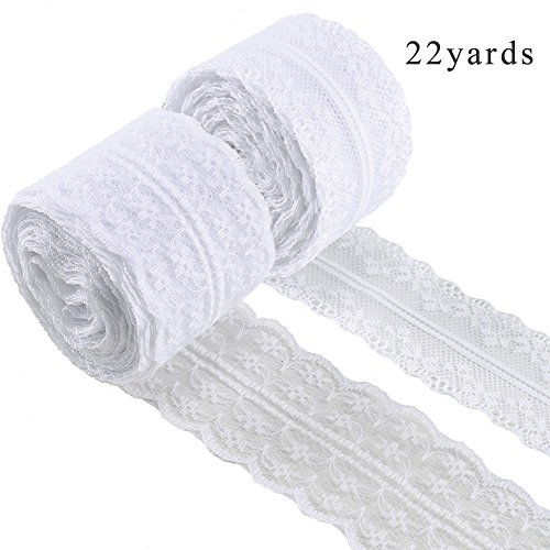 White Lace Ribbon FJSM 2 Roll 22 Yards Vintage Lace Roll Tape Lace Fabric Roll Boho Lace Trim Roll for Hair Bridal Headband Floral Burlap Wedding Decorations Mason Jar Crafts Sewing 4.5cm/4cm Width