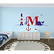 "Custom Name & Initial Blue Red Anchor Whale Lighthouse - Nautical Series - Baby Boy Girl Decoration - Mural Wall Decal Sticker For Home Interior Decoration Car Laptop (M520) (Wide 30"" x 16"" Height)"