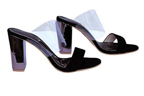 6d3bd464977 AnShe Girls Women s Velvet Leather Peep Toe and Transparent Band   4 inch  Block Heel with Mirror Covering Fashion Designer Sandals Footwears   Amazon.in  ...