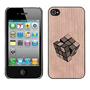 - Cube Puzzle Game Deep Meaning - - Funda Delgada Cubierta Case Cover de Madera FOR Apple iPhone 4 4S 4G BullDog Case