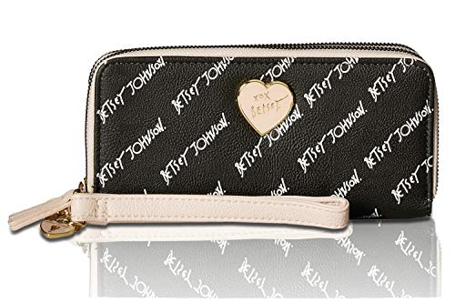 - Betsey Johnson Women's Double Zip-Around Wallet Black/Blush One Size
