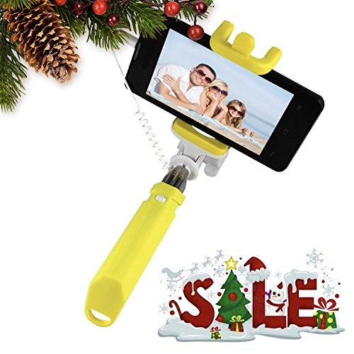 Podie Kids Wired Selfie Stick. New Model. The Coolest and Easiest Selfie Stick. No Need for Bluetooth Connection or Charging. Fits iPhone, Android, Samsung, LG. Extra Bonus. (Yellow)