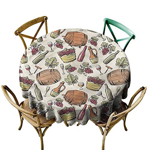 ScottDecor Round Tablecloth Plaid Winery,Viticulture Grapevine Barrel D60,for Party