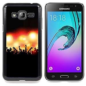 """Qstar Arte & diseño plástico duro Fundas Cover Cubre Hard Case Cover para Samsung Galaxy J3(2016) J320F J320P J320M J320Y (Muchedumbre del concierto Gente Manos Iluminación"""")"""