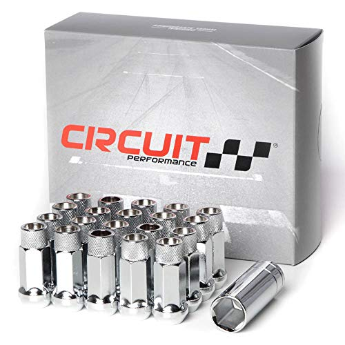 Circuit Performance Forged Steel Extended Open End Hex Lug Nut Aftermarket Wheels: 12x1.5 Chrome - 20 Piece Set + Tool