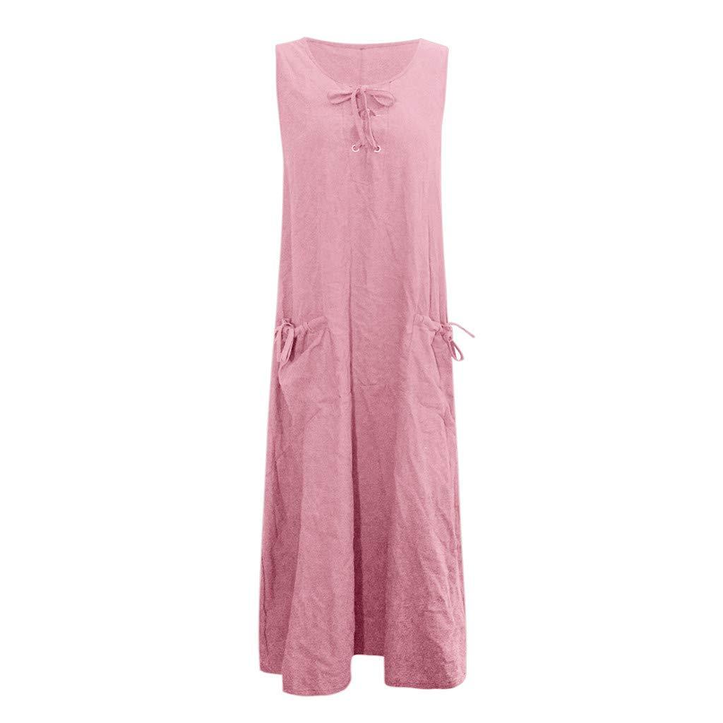 Nuewofally Women's Maxi Dress Casual Bandage Dress Summer Solid Sleeveless Long Dress Fashion Sundress Pink