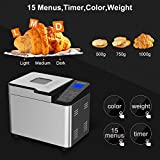 ROZMOZ Bread Machine with Full Stainless Steel Body & Glass Touch Screen, 15-in-1 & 600W for Breadmaker, Non-Stick Pan & 3 Colors & 3 Weights, 3 Rotating Blades