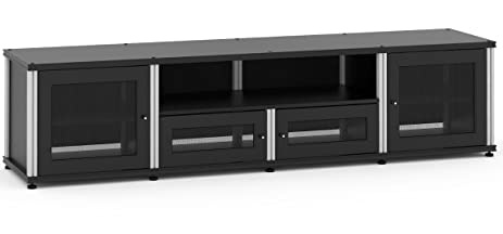 Salamander Designs 245B/A Quad Width Audio Video Cabinet, Black With  Aluminum Posts