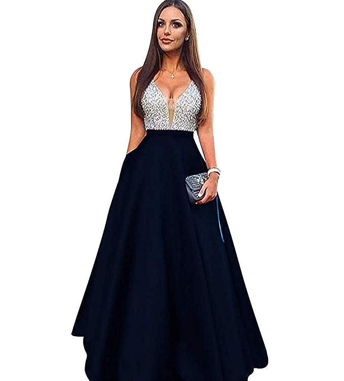 Navy Lnxianee Women's Beaded VNeck Prom Dresses Long Formal Evening Gowns