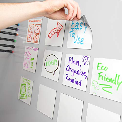 - mcSquares Stickies Dry-Erase Sticky Notes. Reusable Whiteboard Stickers -5in x 5in 6 Pack- Never Buy Paper Post Notes Again, Its Eco-Friendly! with Smudge-Free Wet-Erase Marker