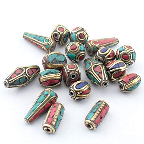 - Calvas Mix 20pc/lot Retro Prayer Tibet Silver Beads Nepal Beads Red Coral Inlay Copper Tibetan Charms - (Color: Mix 20pcs)