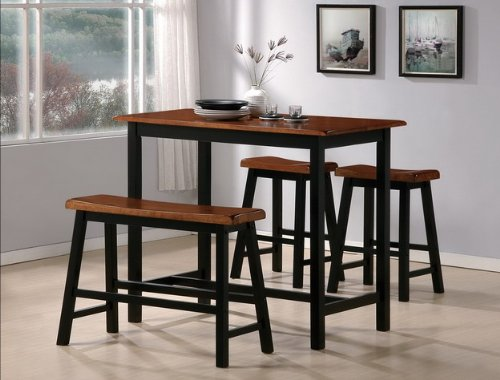 Crown Mark Tyler 4-Piece Counter Height Table Set (Table Breakfast Sets Nook)