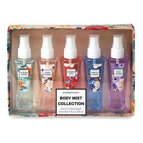 Travel Size Room and Body Mist, Pillow and Linen Mist Collection - Scented Mist Set of 5 - Mandarin Orange, Cherry Blossom, Cranberry Apple, Vanilla Coconut, Fresh Lavender - 2.2 fl oz/each