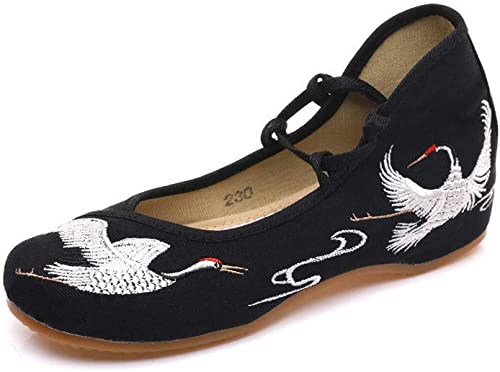Chinese Style Crane Crane Embroidered Laced Chinese Dance Shoes with Soft Cushion Layers Sew by Hand