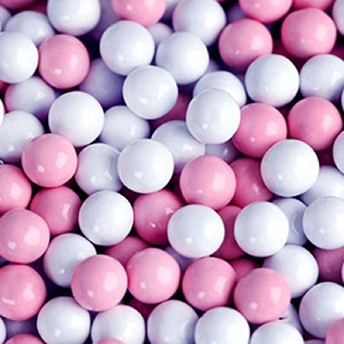 Light Pink & White Sixlets Mini Milk Chocolate Balls 1LB Bag (Mini Chocolate Balls)